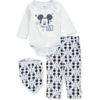Disney Mickey Mouse Baby Boys' 3-Piece Layette Set - white/light blue, 6 - 9 months