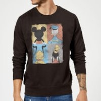 Disney Mickey Mouse Donald Duck Mickey Mouse Pluto Goofy Tiles Sweatshirt - Black - L - Black