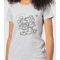 Disney Mickey Mouse Kissing Sketch Women's T-Shirt - Grey - 3XL - Grey