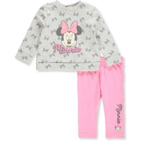 Disney Minnie Mouse Baby Girls' 2-Piece Leggings Set Outfit - pink/gray, 6 - 9 months